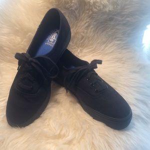 KEDS Platform Black Canvas Sneakers